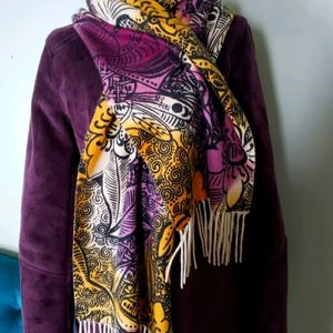 100% Cashmere Norstrom floral purple print scarf